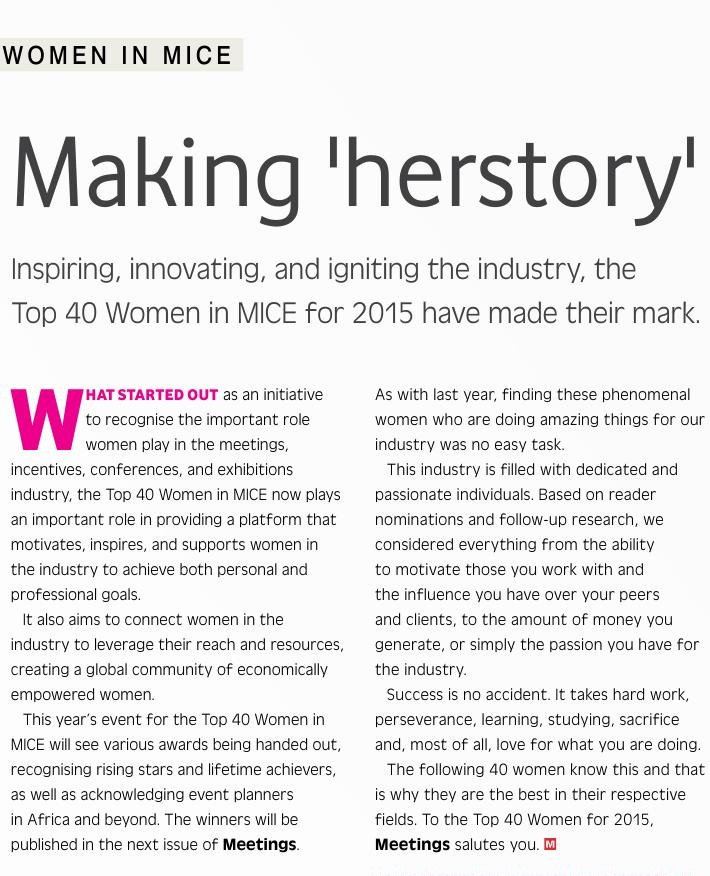 Top 40 Women in MICE, 2015